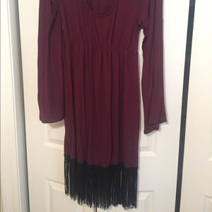 Fuchsia fringe dress with big bell sleeves